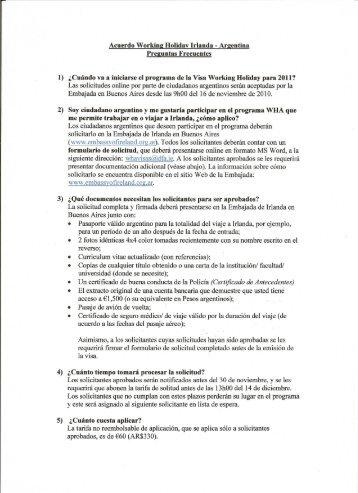 Acuerdo Working Holiday Irlanda - Argentina Preguntas Frecuentes 1