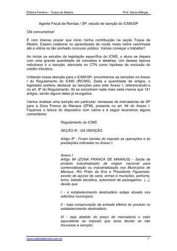 Ao iniciar os estudos de Legislao do ICMS, o ... - Editora Ferreira
