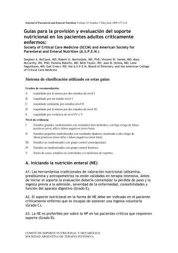 Traducción guías ASPEN 2009 - Sociedad Argentina de Terapia ...
