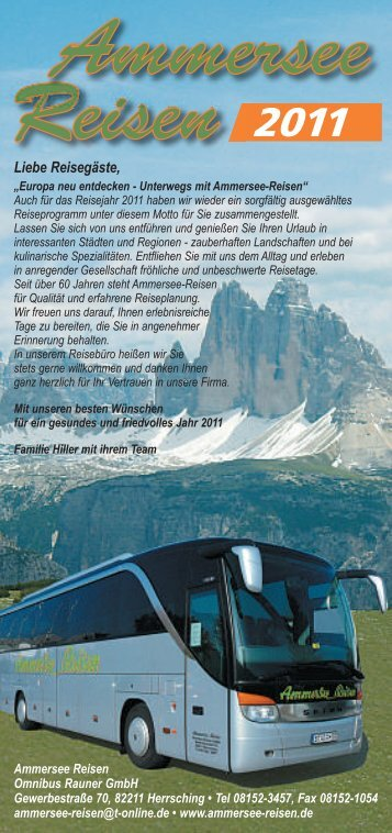 Liebe Reisegäste, - Ammersee-Reisen in Herrsching