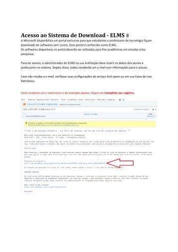 instruções de como fazer download de software do programa