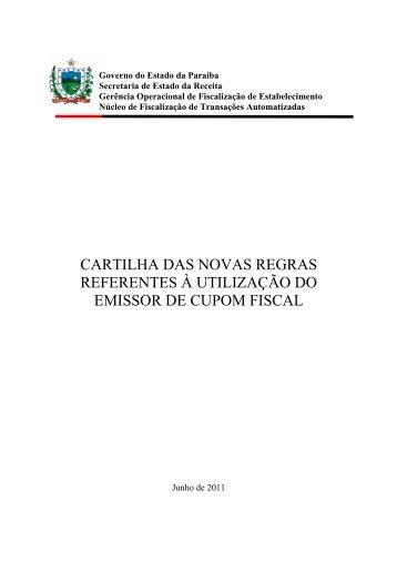 Cartilha do ECF - Secretaria de Estado da receita