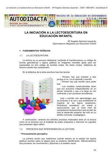 la iniciación a la lectoescritura en educación infantil - ANPE BADAJOZ