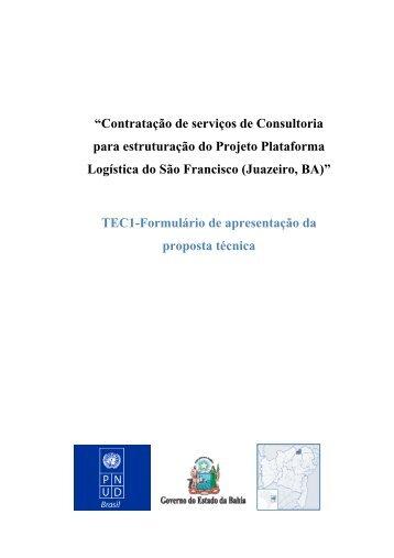 Formulário de apresentação da proposta técnica