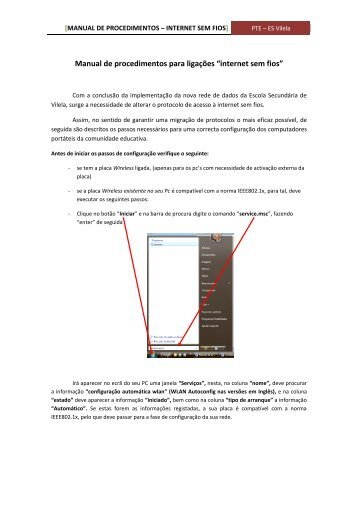 Manual de procedimentos – Internet sem fios - Escola Secundária ...