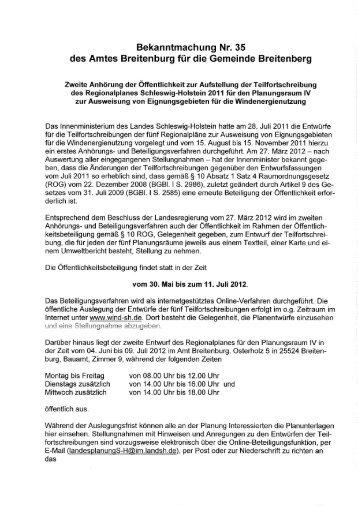 Bekanntmachung Nr. 35 des Amtes Breitenburg ... - Amt Breitenburg