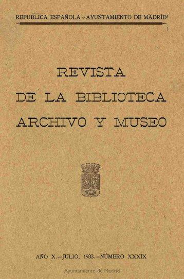 Revista de la Biblioteca, Archivo y Museo - Memoria de Madrid