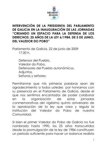 intervención de la presidenta del parlamento de galicia en la ...