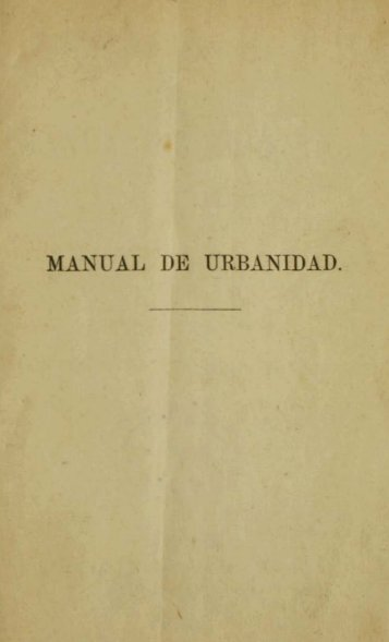 MANUAL DE URBANIDAD. - Memoria Chilena