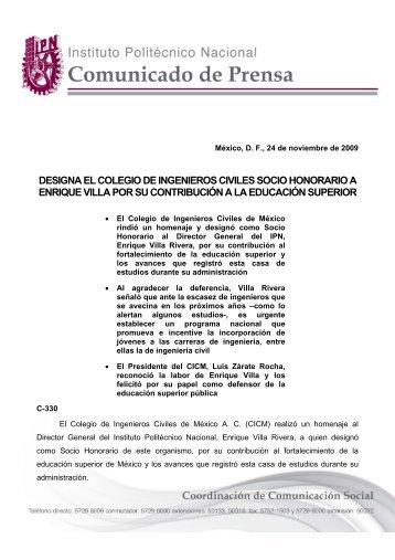 designa el colegio de ingenieros civiles socio honorario a enrique ...