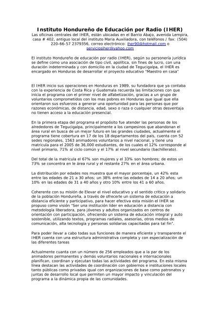 Instituto Hondureño De Educación Por Radio Iher Fondo
