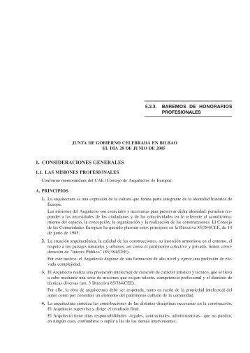 Baremo de honorarios aconsejados col legi d for Honorarios arquitecto