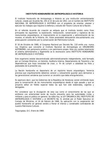 Ley Orgánica del Instituto Hondureño de Antropología e - IHAH