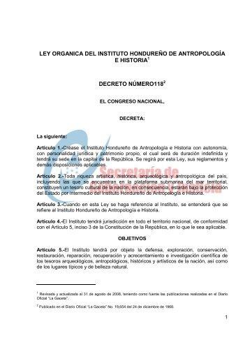 LEY ORGANICA DEL INSTITUTO HONDUREÑO DE ... - IHAH
