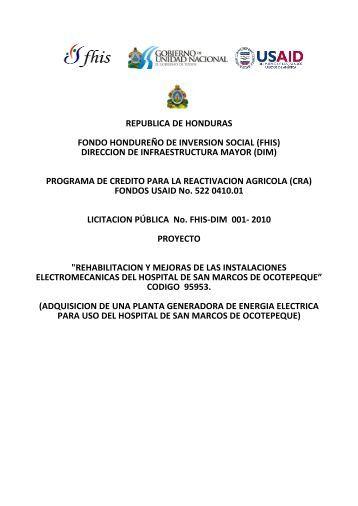REPUBLICA DE HONDURAS FONDO HONDUREÑO DE ...