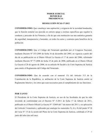 Reglamento Código del Notario - Unión de Notarios de Honduras