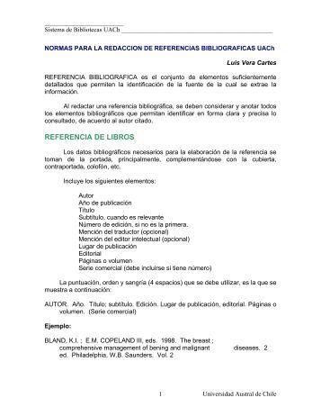 Normas para la Redacción de Referencias Bibliograficas UACH
