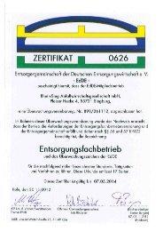 Zertifikat Entsorgungsfachbetrieb - RSAG