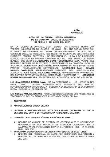 ACTA DE LA QUINTA SESIN ORDINARIA - Instituto Federal Electoral