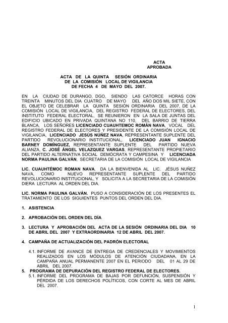 Acta De La Quinta Sesin Ordinaria Instituto Federal Electoral