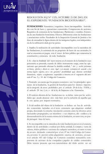 Resolución IGJ n° 1329 expte. Fundación Bicentenario.indd - UNAV