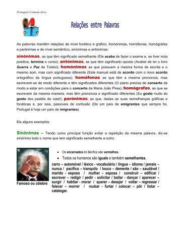 As palavras mantêm relações de nível fonético e ... - Teia Portuguesa