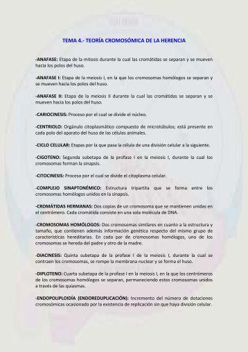 TEMA 4.- TEORÍA CROMOSÓMICA DE LA HERENCIA