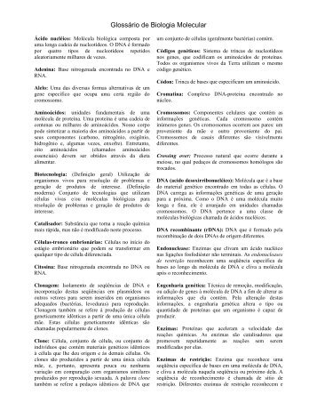 Glossário de Biologia Molecular - Programa Educ@r