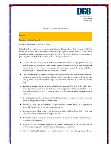 Secuencia Didáctica Taller de Lectura y Redaccion I