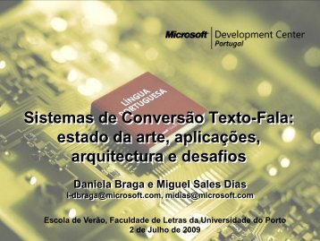 Tecnologia Texto > Fala - Universidade do Porto