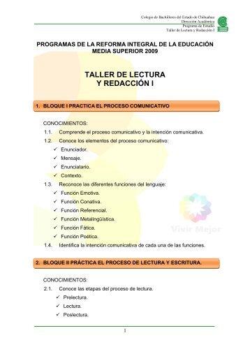 TALLER DE LECTURA Y REDACCIÓN I - COBACH