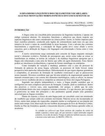 O DINAMISMO LINGUÍSTICO DOS CRUZAMENTOS ... - GELNE