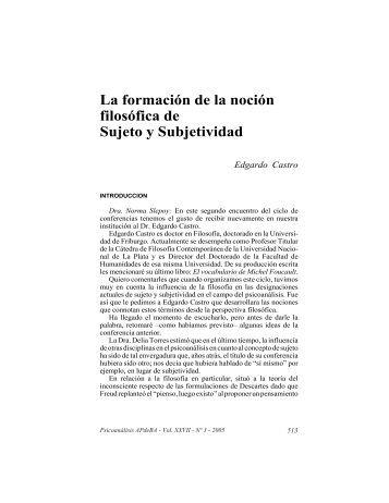La formación de la noción filosófica de Sujeto y Subjetividad
