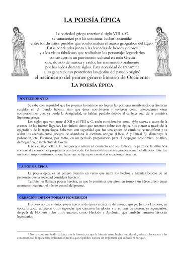 LA POESÍA ÉPICA - Dpto. de Clásicas del IES Don Juan Manuel
