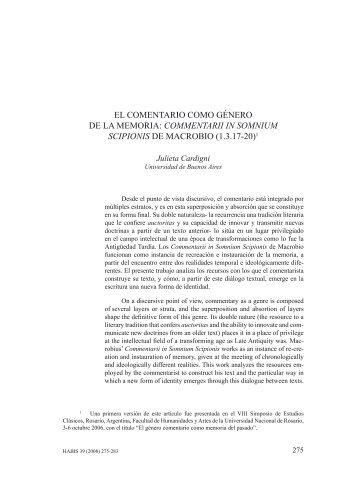 EL COMENTaRiO COMO GÉNERO DE La MEMORia ...