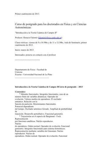 Introducción a la Teoría Cuántica de Campos II - Facultad de ...