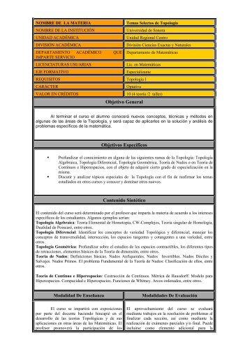 Temas Selectos de Topología - Licenciatura en Matemáticas ...