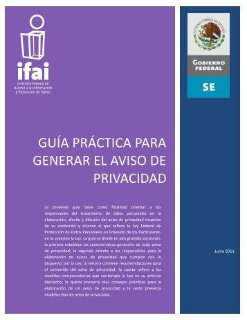 Guía práctica para generar el aviso de privacidad - Ifai