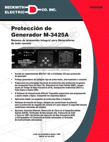 Protección de Generador M‑3425A - Beckwith Electric Co., Inc.