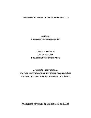 problemas actuales de las ciencias sociales autora - Universidad ...