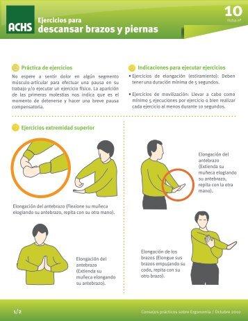 Ejercicios para descansar brazos y piernas - ACHS