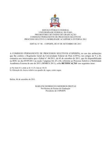 Retificação do Edital nº 06/2011 - Ceps - Universidade Federal do ...