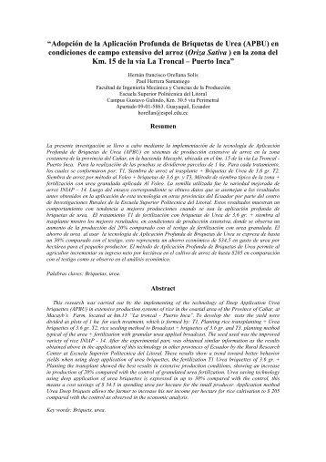 """""""Adopción de la Aplicación Profunda de Briquetas de Urea _APBU_ ..."""