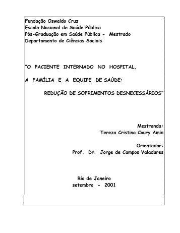 PACIENTE INTERNADO NO HOSPITAL, - Teses FIOCRUZ