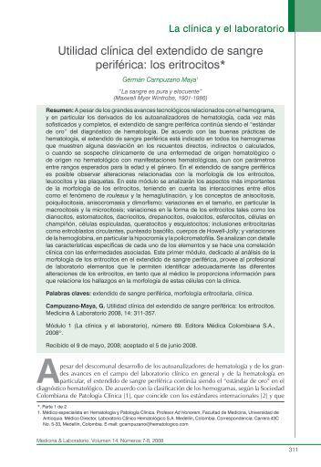 Utilidad clínica del extendido de sangre periférica ... - edigraphic.com