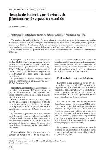 Terapia de bacterias productoras de β-lactamasas de ... - SciELO