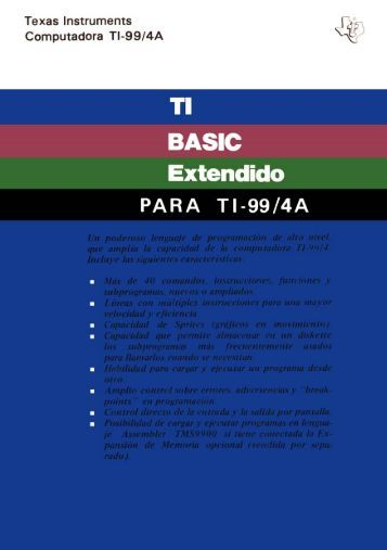 TI BASIC Extendido - ti99 lives
