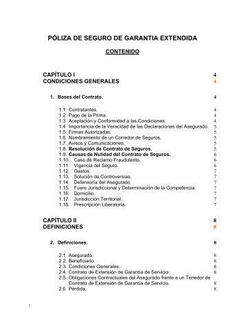 PÓLIZA DE SEGURO DE GARANTIA EXTENDIDA - La Positiva