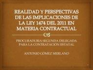 Conferencia REALIDAD Y PERPECTIVAS DE LA LEY 1474