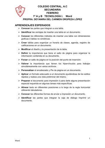 1. Febrero. APRENDIZAJES ESPERADOS Word - Colegio Central